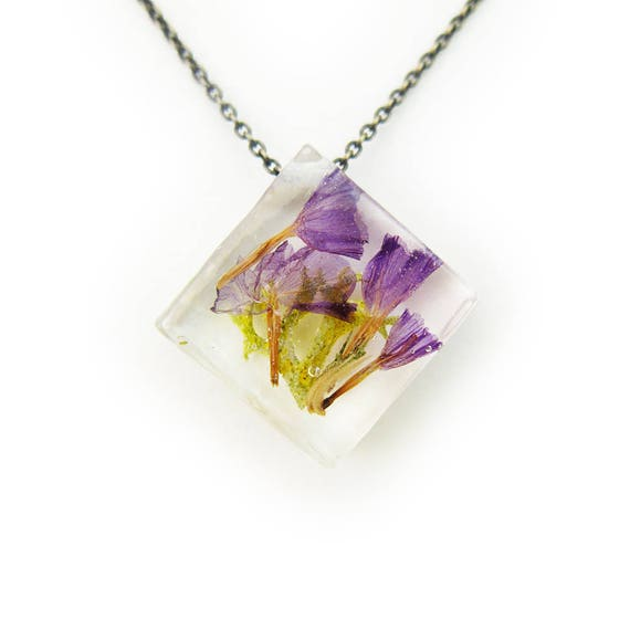 Purple Dried Flower Necklace