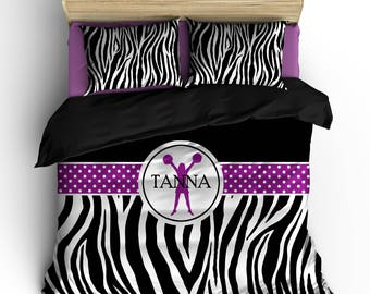 Personalized Custom Bedding Cheering Zebra - available Toddler, Twin, Full/Queen or King Size