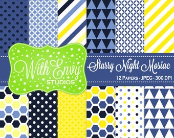 SALE  Blue and Yellow Digital Paper -  Geometric Scrapbook Paper - Polka Dot Digital Paper - Striped Paper - Personal & Commercial Use