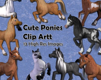 Cute Ponies 13 digital images of cartoon pony clip art for decoupage, card making, scrapbooks etc