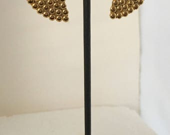 Gold plated brass clip earrings with gold plated brass nuggets