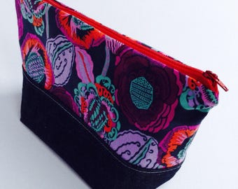 Large zipper travel pouch, fabric makeup bag, cosmetic bag, multi-use bag, wide open zippered pouch, storage case