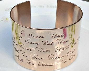Bronze 'NOT by Shakespeare' Bracelet, Bedouin Love Song, Bronze Wedding Anniversary Gift, Valentines Gift, Wide Bronze Cuff Bracelet