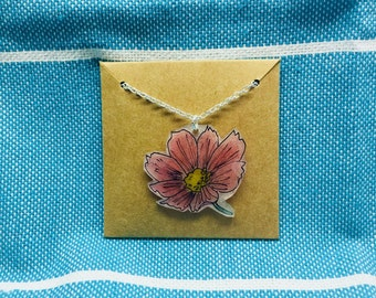 Pink Cosmo Flower Necklace
