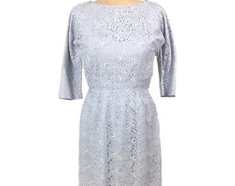 vintage 1950s lace wiggle dress / ice blue / floral lace / spring / feminine romantic / women's vintage dress / size extra small