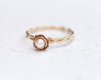 Gold Rose Ring, Rose Ring, Gold Flower Ring, Flower Ring, 10K Gold Ring, 10K Gold, Rose Gold Ring, Pearl Ring, Gold Pearl Ring, Pearl Ring