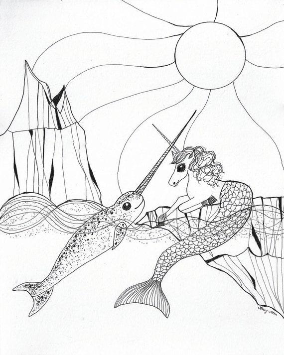Narval & Licorne sirène Black/White Print Cheval de mer et