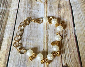 Gold Chain with Pearls and Gold finding dangles bracelet