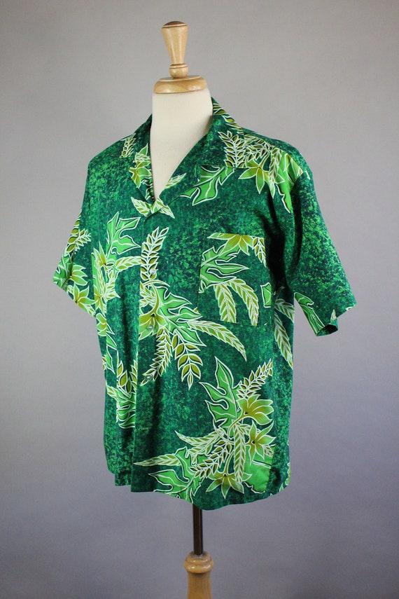 60s Tropical Shirt . Tahitian Shirt . Green Shirt . Tiki Bar Party Shirt . Summer Surf Beach Shirt . Vintage . Mens Size Large . GOGOVINTAGE 9piNF89j7K