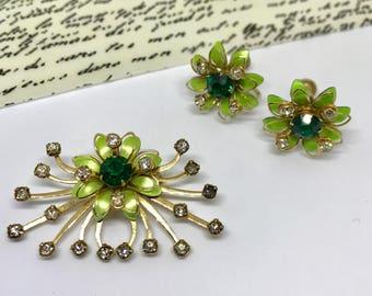 Green Rhinestone Brooch and Earring Set