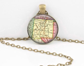 New Mexico Vintage Map Geography Gift  Pendant Necklace or Key Ring