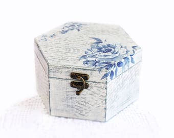 Wooden Jewelry  Box Handmade Decoupage White Storage Box With Blue Flowers For Home Decor