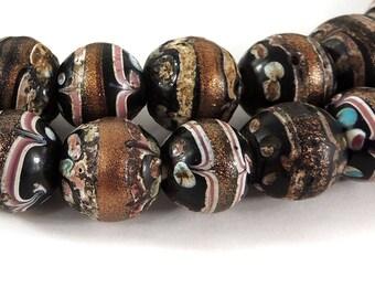 Fancy Venetian Trade Beads Black Aventurine African 118293