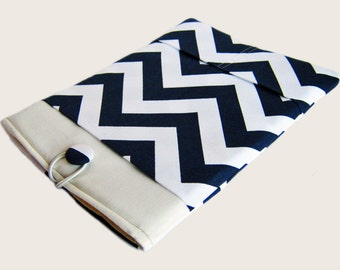 "11"" HP Chromebook case, Lenovo IdeaPad case, Acer Chromebook 11"" sleeve, 11"" Laptop sleeve, Computer Case, Navy Blue Chevron"