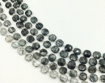 "Tourmalated Quartz Checker Beads 8-9 mm (ONE 8"" Strand)"
