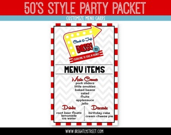 50s Retro Diner Birthday Menu Signs CUSTOMIZED