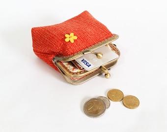 Orange Wallet, Small Double Pockets Coin Purse, Kiss Lock Wallet, Double Pockets Wallet, Women Fabric Wallet, Antique Bronze Frame