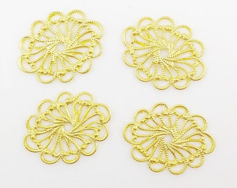 Gold Filigree, Brass Oval Filigree, Cameo Setting, Brass Connector, Scallop Filigree, Brass Stamping, 20mm x 26mm - 4 pcs. (gd337)
