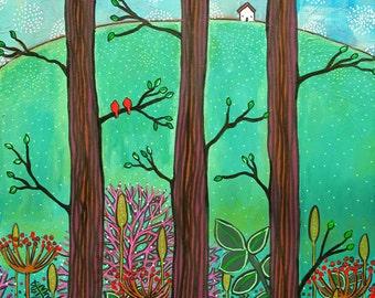 White Cottage woods red birds Print Shelagh Duffett