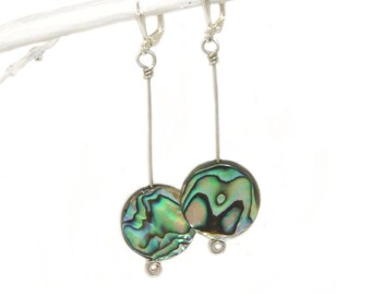 Paua Shell Drop Earrings, New Zealand Abalone Natural Shimmering Shell
