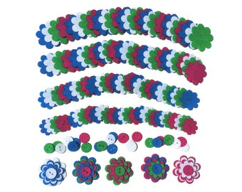 Felt Flower Button Shapes 160 Piece Set - Felt Buttons - Felt Flower Shapes