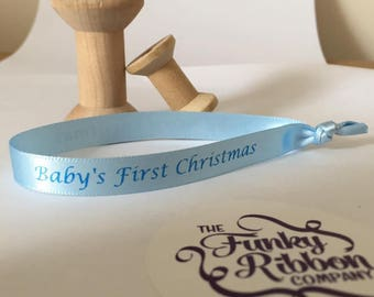 Baby's First Christmas 2017 Bauble ribbons