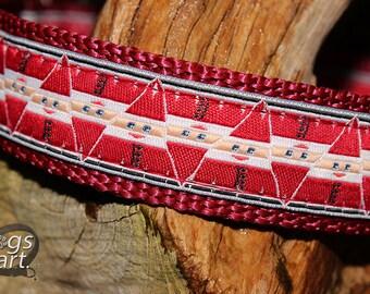 "Santa Claus Collar, Christmas Dog Collar, X-Mas Dog Collar, Boy Dog Collar, Girl Dog Collar, Leather Dog Collar, Dog Collar, ""HoHoHo"""
