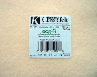 Felt - Cream - Kunin Eco Rainbow Classic Felt Made from Recycled Plastic Bottles Eco-Fi Eco Friendly Recycled Polyester