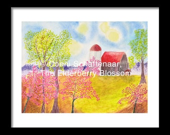Father's Day Gift Idea Instant Print Download 5x7 Print from Watercolor Painting Redbud Trees on Farm in Spring for matting and framing