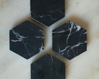 Black Marble Magnets | Strong Magnets | Hexagon Magnets | Marble Magnets | Luxury Magnets | Set of 4