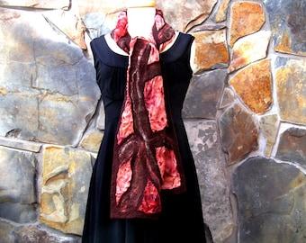 Dark brown line design on reddish brown dyed silk scarf, nuno felting