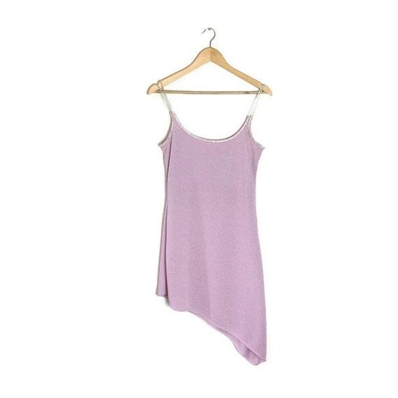 90s pink metallic dress / clubbing / light pink asymmetric dress / diamonte strapped dress / spaghetti strap 90s hankachief dress