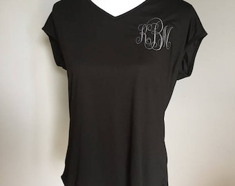 Monogrammed Drapey Cross-Back Tee- Embroidered Ladies Tee