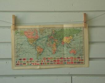 1956 Vintage World Map