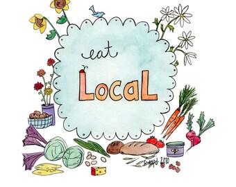 Manger Local - impression d'Art marché du fermier
