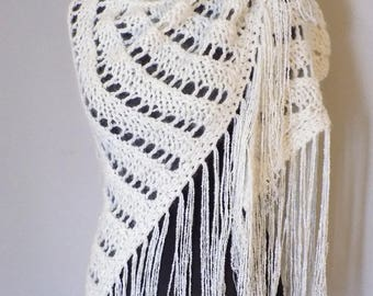 Wool Shawl Hand Knitted; White shawl with fringes