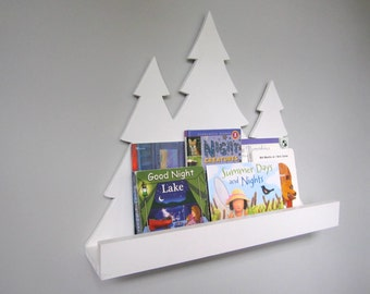 Kids Woodland Tree Book Ledge White, Nursery Decor, Nursery Storage, Book Shelf, Woodland Decor