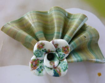 FLOWER VARIETY SHADES OF GREEN POLYMER CLAY CREATION