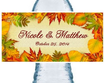 100 AUTUMN FALL WEDDING favors water bottle labels ~ glossy ~ waterproof ink ~ Free Shipping