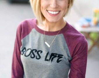 Boss Life Baseball Tee // Girl Boss Shirt // Inspirational Tee // Maroon & Grey Boss Baseball Tee // Inspirational Boss Shirt