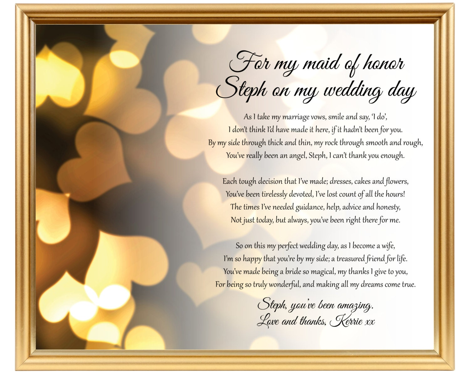 Maid of Honor poem gift Chief Bridesmaid poem Personalized