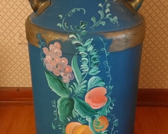 vintage hand-painted milk can