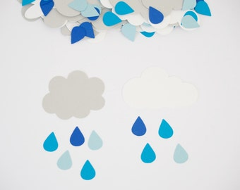 Rain Drop Baby Shower Confetti with Clouds, Raindrop Confetti, Rain Shower Baby Shower