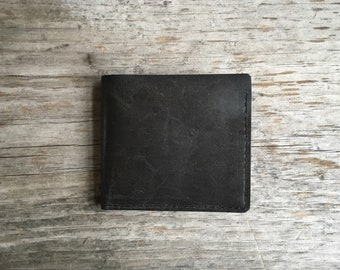 Leather Billfold Wallet - Repurposed Distressed Black Leather
