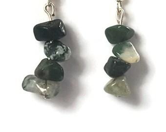 Indian Agate natural gemstone dangle earrings handmade jewellery