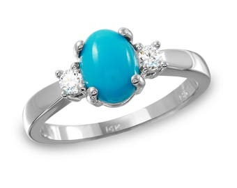 Women's Diamond and Turquoise Ring