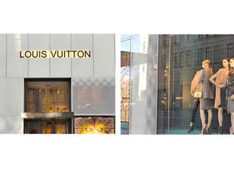 Louis Vuitton art print set, fashion wall art Louis Vuitton shop window, fashion gift, girls room art, bedroom bathroom wall art, dorm decor