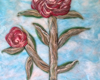Large needle felted  3 D Roses