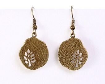 Petite antique brass tree drop dangle textured earrings (597)