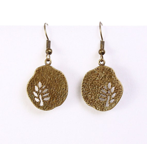 Petite antique brass tree drop dangle textured earrings (597)